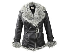Leather Look Belted Jacket with Fur Trim at Bon Prix