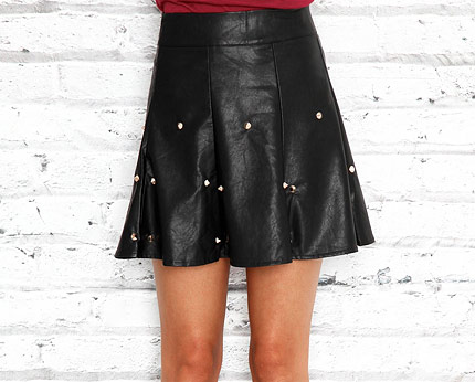 Black Leather Look Skater Skirt with Stud Detail at Missguided
