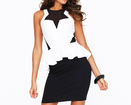 Lipsy Peplum Contrast Dress at Littlewoods