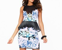 Lipsy Peplum Printed Dress at Littlewoods
