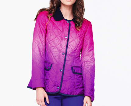 Pink/Purple Love Label Quilted Ombre Jacket at Isme
