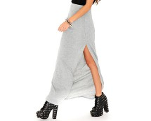 Grey Maxi Skirt with Side Split at Missguided