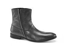 Men's Leather Ankle Boots with Side Zips at La Redoute