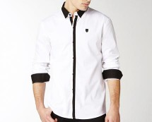 Men's Long Sleeved Cotton Contrast Shirt at La Redoute