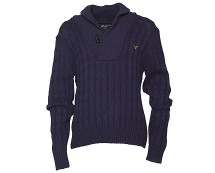 Men's Navy Shawl Neck Cable Knit Jumper at MandMDirect