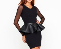 Black Mesh Sleeve PU Peplum Dress at Motel