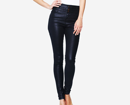Black Metallic High Waist Jeans at Isme