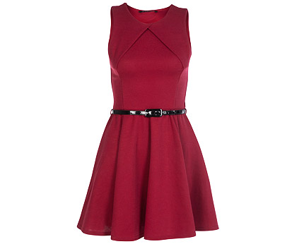 Miso Skater Dress with Skinny Black Belt at Republic