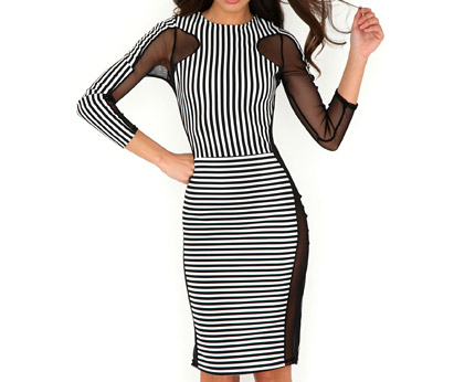 Monochrome Striped Mesh Panel Midi Dress at Missguided