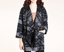 Navajo Print Mid Length Wool Jacket at Marks & Spencer