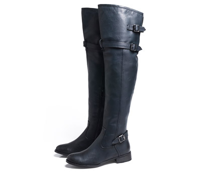 Over the Knee Flat Buckle Boots at AX Paris