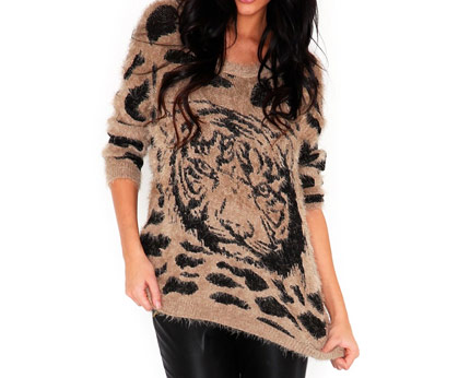 Oversized Soft Tiger Knit Jumper at Missguided