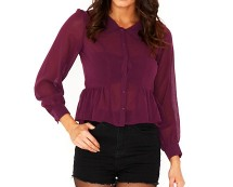 Plum Peplum Blouse at Missguided