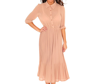 Nude Pleated Shirt Dress at Missguided