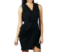 Black Pleated Wrap Over Dress at AX Paris