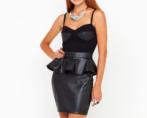 Black PU Leather Bodycon Peplum Dress at Motel