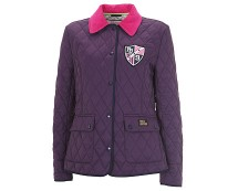 Quilted Jacket with Bright Pink Collar at Pauls Boutique