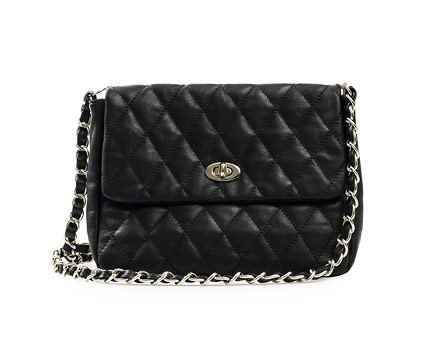 Black Quilted Leather Look Shoulder Bag at Nelly