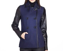 Reefer Wool Contrast Jacket with Faux Leather Sleeves at La Redoute