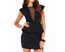 Black Scuba Peplum Mesh Dress at Littlewoods