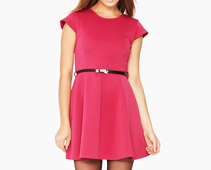 Scuba Skater Dress with Belted Waist at Littlewoods