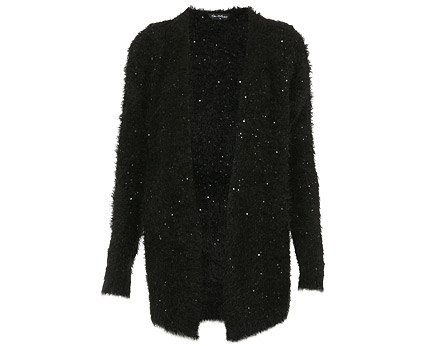 Sequined Fluffy Cardigan - Black @ lookcubes - Affordable Fashion
