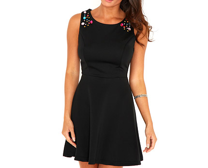 Skater Dress with Jewelled Detail at Missguided