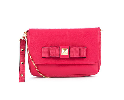 Red Stud Bow Wristlet at New Look