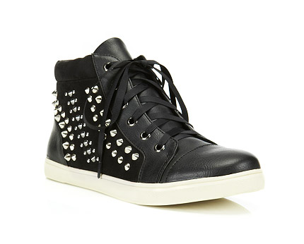 High Tops with Stud Detail at Miss Selfridge