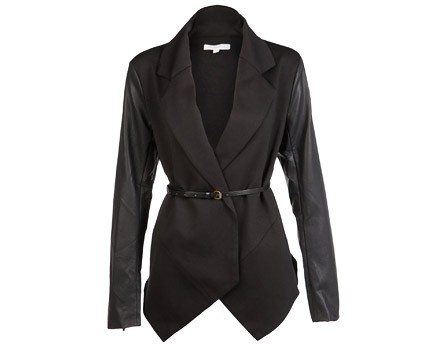 Tailored Jacket with PU Sleeves at Republic