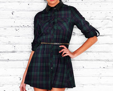 Tartan Skater Dress with Leather Collar at Missguided