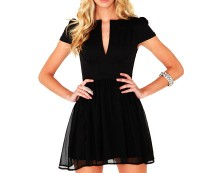 V Neck Chiffon Skater Dress at Missguided
