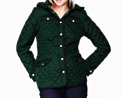 Hooded Quilted Jacket Green Navy Lookcubes Affordable Fashion