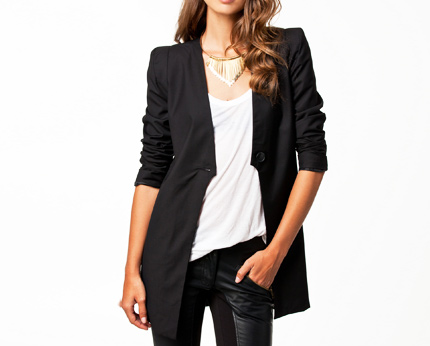 Black Women's Long Cut Blazer at Nelly