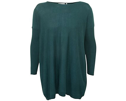 Skinny Ribbed Sleeve Knitted Tunic at New Look