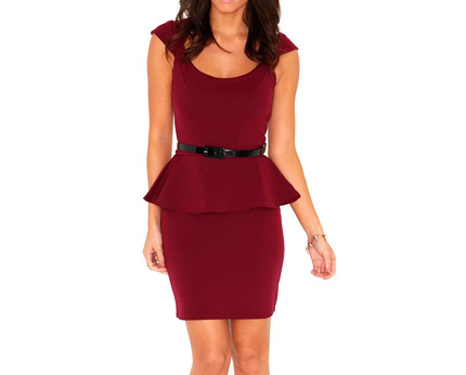 Peplum Bodycon Dress with Waist Belt at Missguided