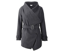 Belted Wrap Coat with Shawl Neck Collar at Bon Prix