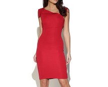 Bodycon Dress with Asymmetric Collar at Vestry Online
