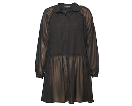 Black Chiffon Shirt Dress at MandMDirect