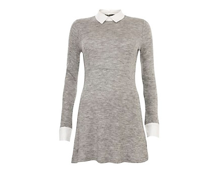Grey Collar Shirt Dress at New Look