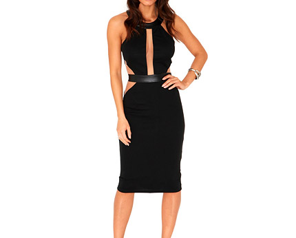 Black Contrast Cut Out Midi Dress at Missguided