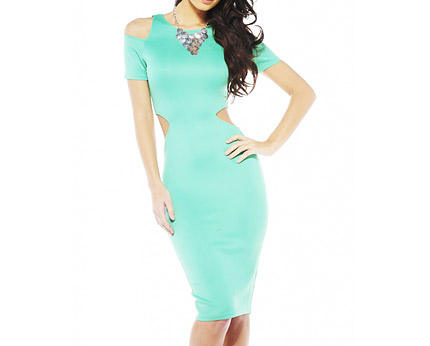 Green Midi Dress with Cut Out Sides at AX Paris