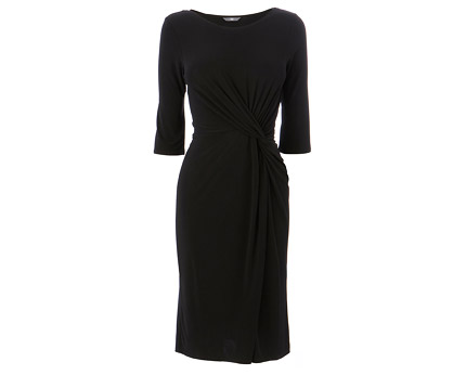Black Jersey Twist and Ruched Dress at Bhs