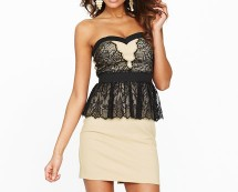 Black and Cream Lace Peplum Dress at K & Co