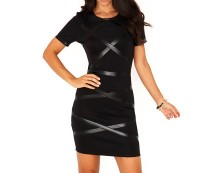 Leather Bandage Bodycon Dress at Missguided