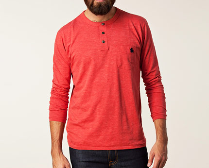 Mens Red Long Sleeve Casual Top at Nelly