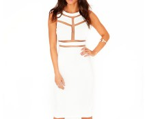 Cream Mesh Panel Cut Out Dress at Missguided