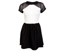 Monochrome Mesh Shoulder Dress at Republic