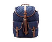 Navy Quilted Wax Backpack at New Look