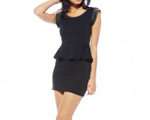 Peplum Dress with Stud detail at AX Paris